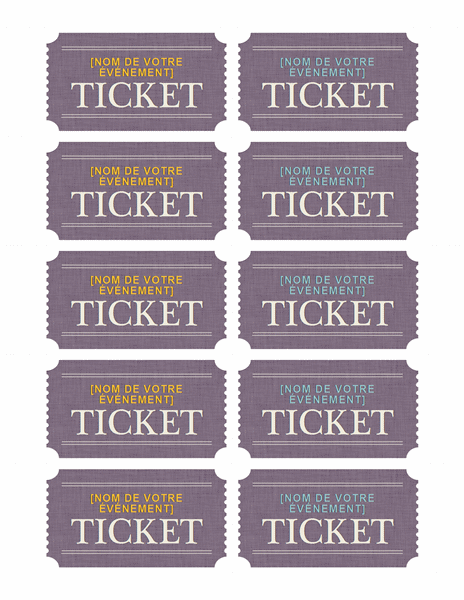 Tickets Simples Modele